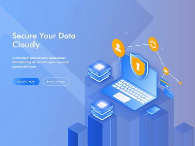 Isometric Animated Hero - Data Security homepage animated ui ux illustration animation gif motion graphic isometric animation landing page hero image header
