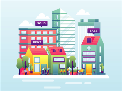 Real estate motion graphic real estate agent city real estate homepage animated hero animated illustration animation landing page hero image header