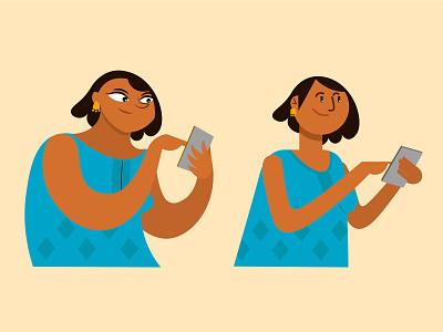 Woman in two styles cellphone india branding woman spot illustration vector artwork design adobe illustrator illustration