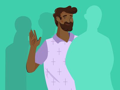 Queue persona character illustration design for bharat smiling man waving queue indian man vector bharat vector artwork adobe illustrator india illustration design branding
