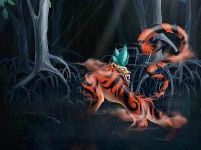 Dakshin Rai panchatantra tiger god sunderbans west bengal tiger digital art procreate folk tales dakshin rai bharat india illustration design