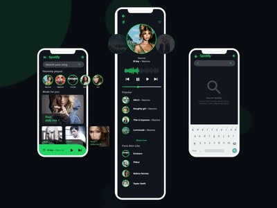 Spotify Mobile Ui Redesign song ux ui concept graphic music app music player music spotify design website app uidesign adobe xd