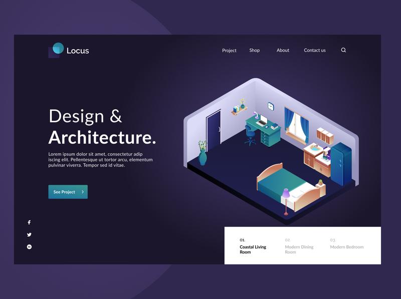 Isometric hero image - architecture concept hero image header isometric room interiordesign architecture