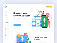 Podcast Landing page podcast illustration homepage ui ux landing page