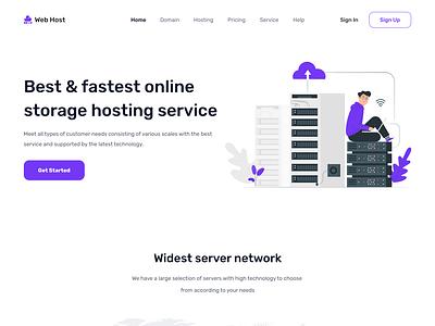 Web Hosting landing page hosting service web hosting homepage ui ux landing page