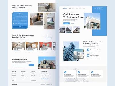 Booqing Room Booking Website booking system booking app hotel website room booking ui ux homepage landing page