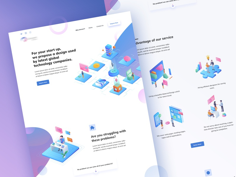 a startup homepage design homepage material design startup isometric web design ui ux illustration landing page