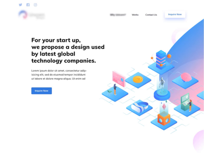 demo of animated web isometric ui ux homepage motion graphic animation after effect landing page