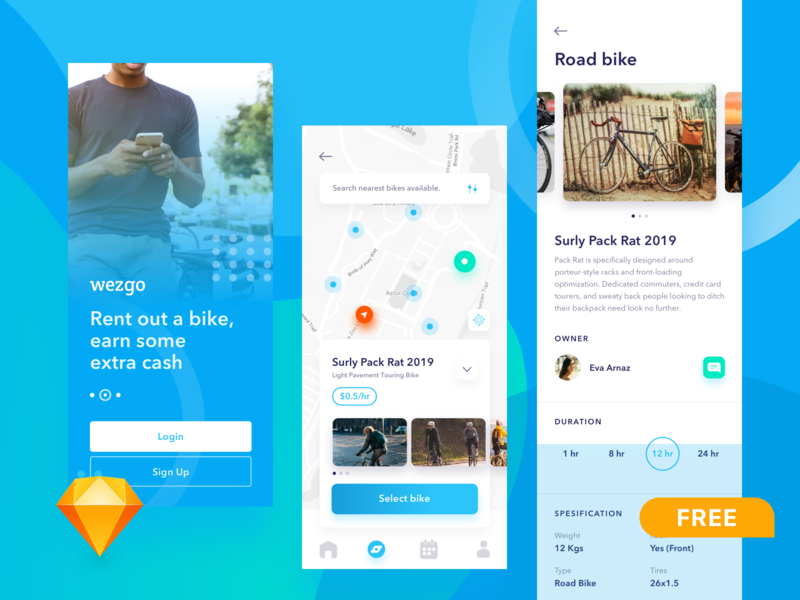 FREEBIE - bike sharing app sketch sketch app freebies freebie ui ux gps startup bike share bike rent bike sharing mobile app design