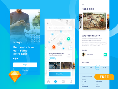FREEBIE - bike sharing app sketch sketch app freebies freebie ui ux gps startup bike share bike rent bike sharing mobile app design