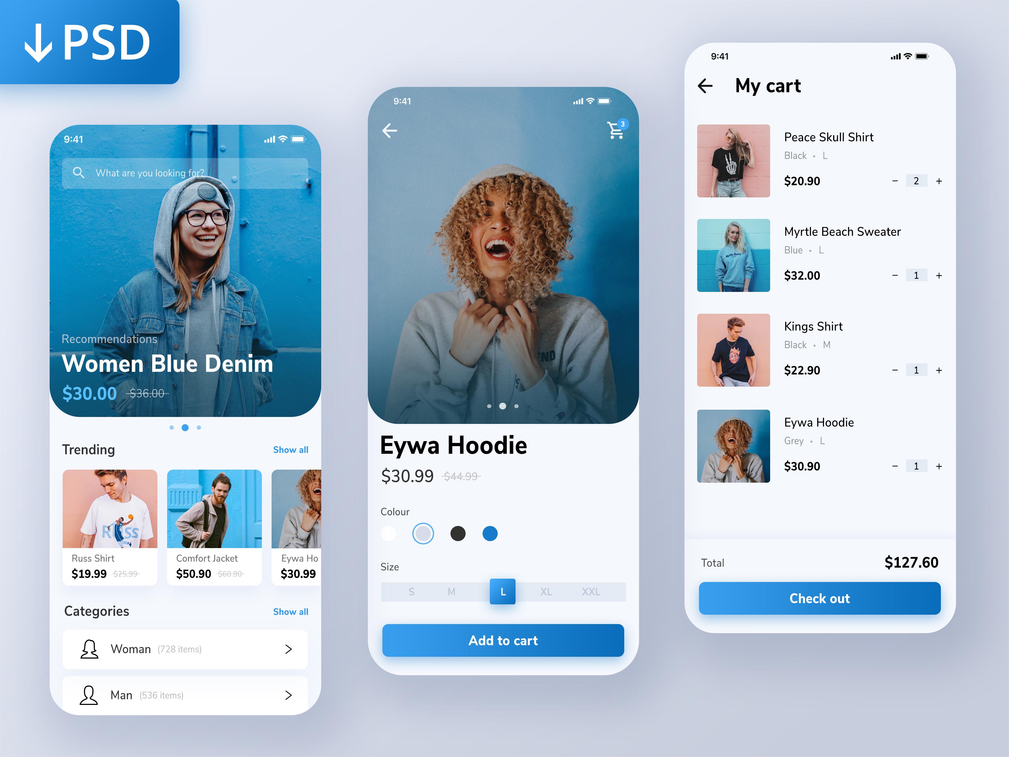 freebie psd - online shopping mobile app designrian