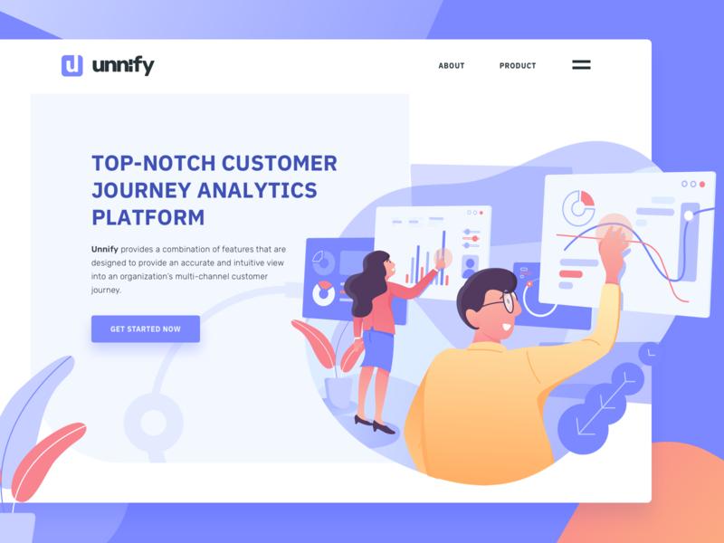 Customer data analytic platform hero illustration by Rian Hamidjoyo