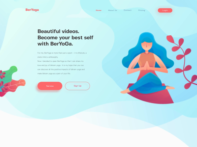 Animated landing page demo - Yoga freebie gif animated yoga class web demonstration motion graphic flat illustration landing page yoga