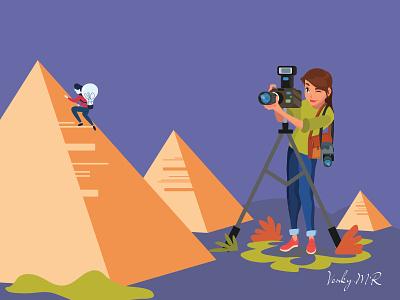 photography egyptianpyramids girlphotography pyramids pyramid photography girl illustration girl character girl vector venkatesh blue design bestdesign illustration