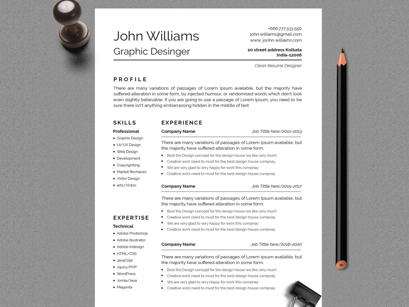 Clean And Professional Resume Design By Masud Rana On Dribbble