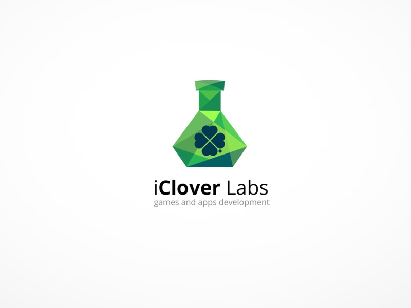 iClover labs logo logo clover labs flask shapes green hearts crystal triangles mosaic