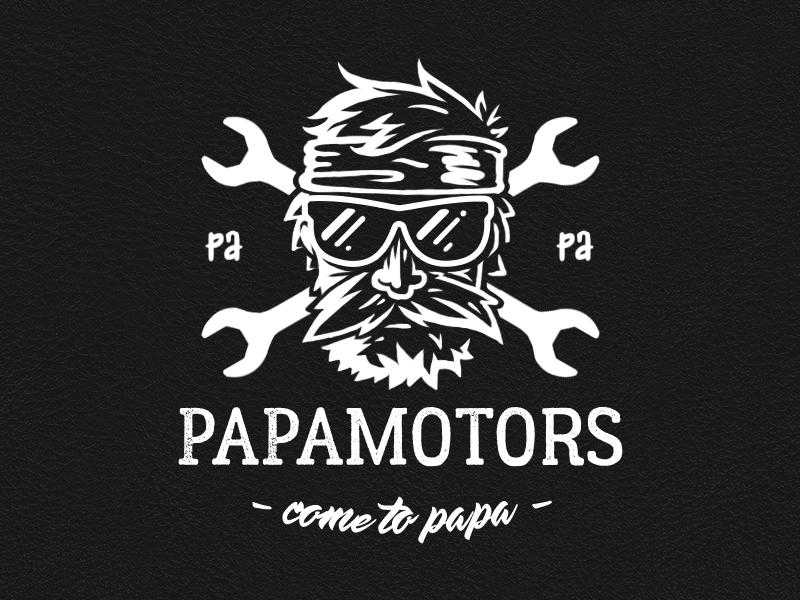 papamotors logo car biker wrench 2d illustration logo auto repair motors papa