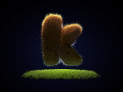 K floating fat letter c4d green red hair grass k furry