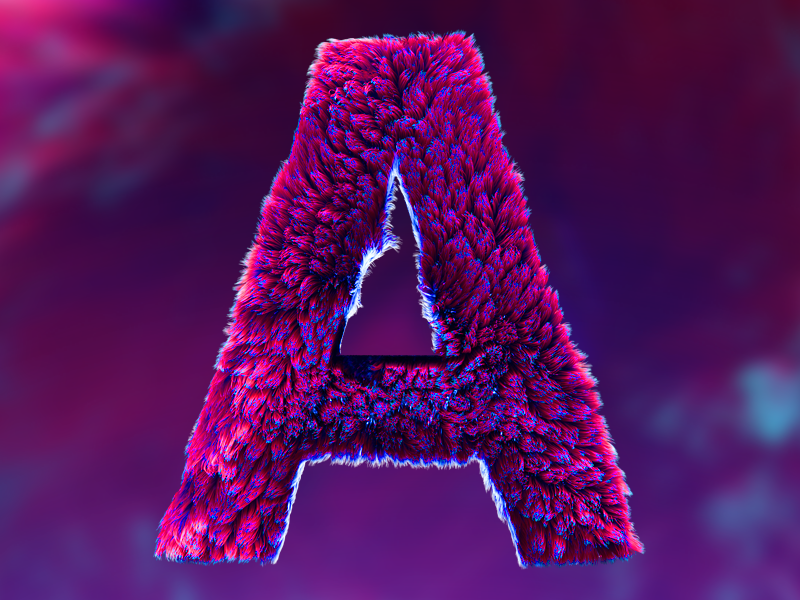 fyrry A c4d fuzzy hair furry letter type a