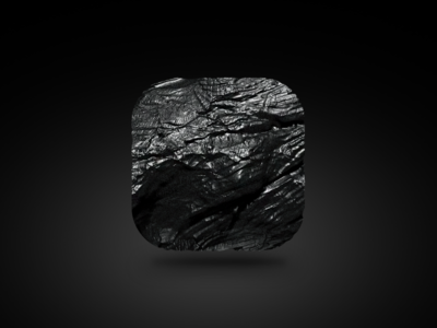 coal icon old wood charcoal carbon texture rock black 3d skeuomorphism icon coal
