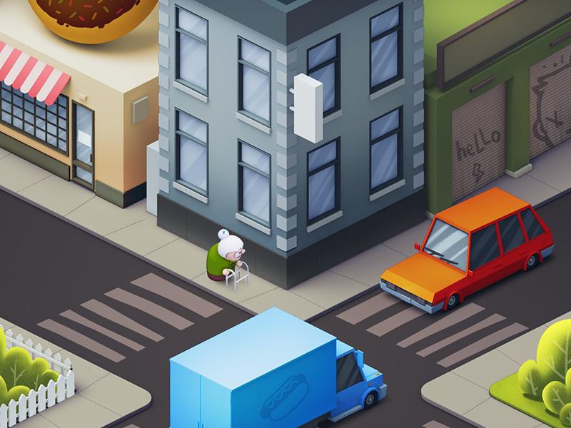 space grannies ios game cinema roads cars buildings grannies city concept art ios illustration game