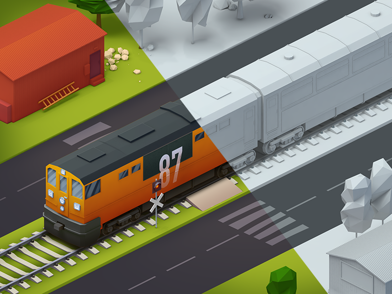 space grannies train level lowpoly 2d 3d 4d cinema roads train space grannies game ios