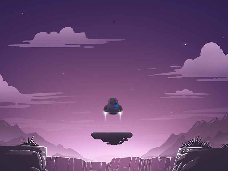 Rocket arcade game for IOS and Android game android ios arcade stars mountains rocket night landscape illustration flat 2d