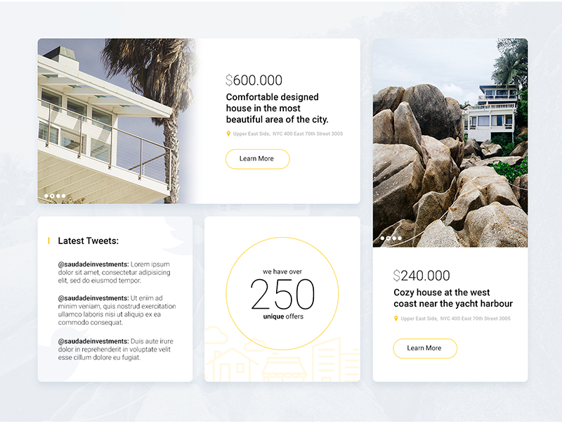 Saudade Investments Website site ui homes investments flat design web