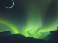 Cygnus Planet rays atmosphere sky fjord moon flat surface sci-fi space planet aurora borealis borealis illustration game 2d
