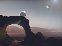 Hercules Planet planet vector stars sci-fi rocky mountains rock planets moons landscape flatillustration flat eclipse desert canyon 2d illustration