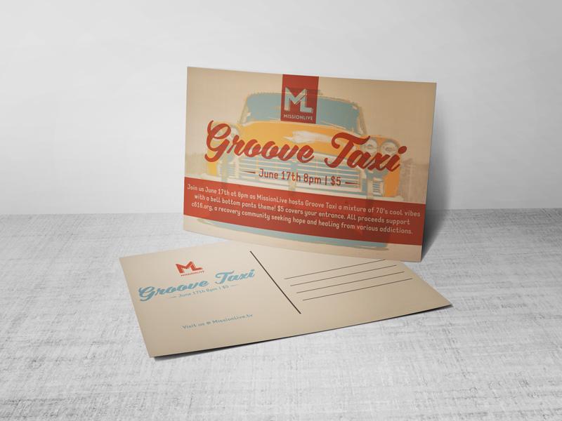 Groove Taxi Postcard design layout postcard