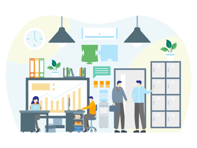 Animated illustration with Office life concept animation gif animated illustration office life office space exploration