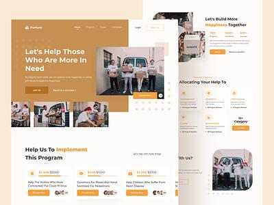 Fundraising Website Homepage illustration design ui exploration landing page webdesign web branding