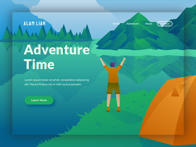 hero illustration for adventure website hiking adventure traveling homepage landing page concept hero image header landing page ui illustration