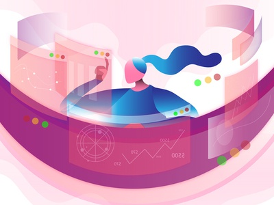 illustration exploration - multitasking purple pink flat office work multitasking exploration illustration