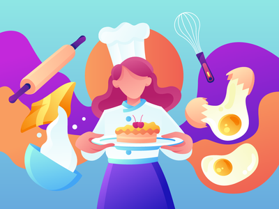 Behind A Slice Of Cake bakery egg cake cook chef hero image landing page concept flat illustration exploration