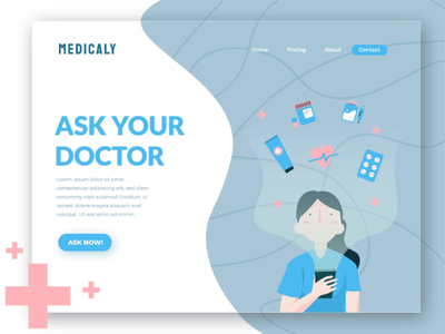 Medicaly - animated hero image consultation health care doctor ui flat exploration hero image landing page illustration animation animated banner animated hero