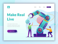 Animated landing page design for tech startup