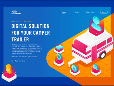 animated isometric hero image for camper trailer campervan traveling landing page animation animated banner hero image exploration illustration