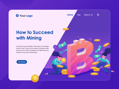 Bitcoin Mining - animated hero image cryptocurrency crypto wallet crypto currency bitcoin exploration animated hero landing page concept after effect landing page animation animated banner hero image illustration