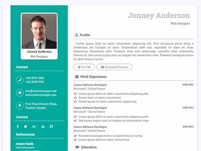 Resume Html Template For Web Developer By Smart Eye On Dribbble