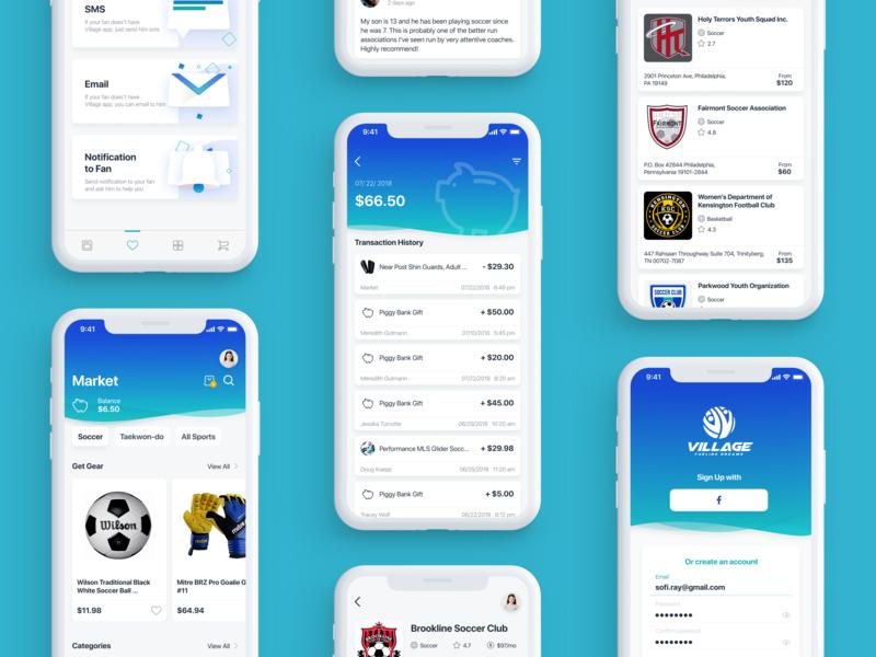 The Village   Mobile Application cards shop sport app sport marketplace market wallet ios ux ui design app