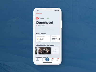 SkiGlobal | Mobile app for Skiers and Snowboarders motion interaction animation ux ui sport app sport ios design cards app