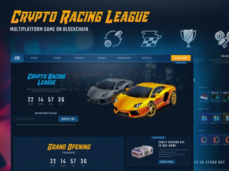 Crypto Racing League   Multiplatform Game on Blockchain game design ux branding illustration ui website