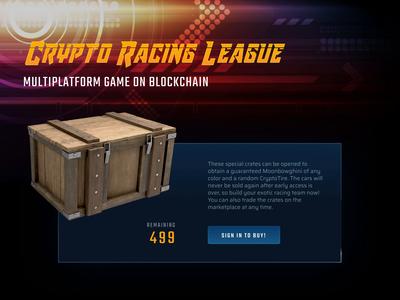 Crypto Racing League game interaction animation ui ux branding illustration design