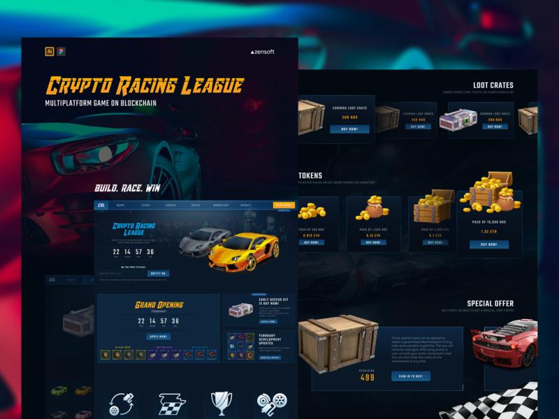 Crypto Racing League   Multiplatform Game on Blockchain inspiration game branding illustration ux ui design