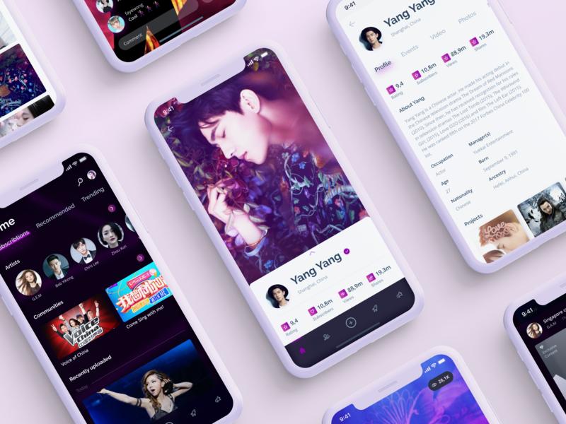 Talent discovery community   Mobile App concept app concept celebrities content profile platform entertainment event app events mobile ios app cards ux ui design