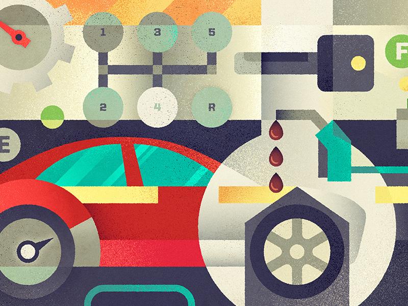 Automotive gas automotive illustration car key wrench window drive road gauge