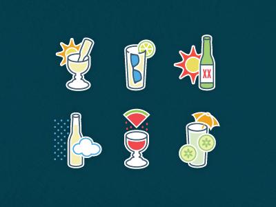 Drink Icons drinks summer beverage icons margarita beer weather