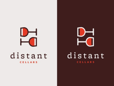 Distant Cellars Concept logo wine typography glass d c